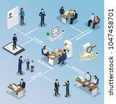 employment isometric flowchart... | Shutterstock .eps vector #1047458701