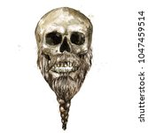 male skull. watercolor... | Shutterstock . vector #1047459514