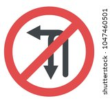 prohibitory sign for no u turn  ... | Shutterstock .eps vector #1047460501