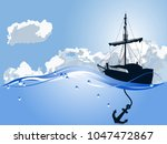 blue silhouette of the pirate...   Shutterstock .eps vector #1047472867