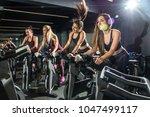 beautiful sporty girls riding... | Shutterstock . vector #1047499117