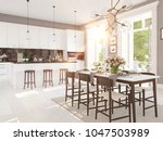 3d rendering of modern kitchen... | Shutterstock . vector #1047503989