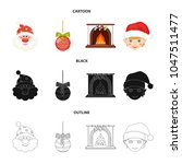 santa claus  dwarf  fireplace...   Shutterstock .eps vector #1047511477