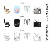 denture  rocking chair  walker  ... | Shutterstock .eps vector #1047511525