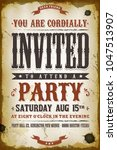 vintage party invitation... | Shutterstock .eps vector #1047513907