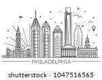 philadelphia. pennsylvania usa. ... | Shutterstock .eps vector #1047516565