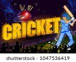 batsman sports player playing... | Shutterstock .eps vector #1047536419