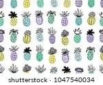 seamless pineapple pattern.... | Shutterstock .eps vector #1047540034
