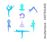 yoga poses. asanas. vector... | Shutterstock .eps vector #1047541435