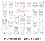Stock vector fashionable female lingerie collection vector sketch illustration feminine lace underwear set 1047541864