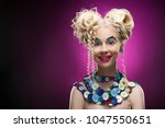 smiling cute face nice blonde... | Shutterstock . vector #1047550651