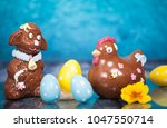 easter background with colorful ... | Shutterstock . vector #1047550714