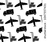 silhouette truck and airplane... | Shutterstock .eps vector #1047557431