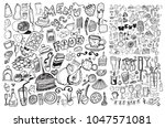 hand drawn food elements. set... | Shutterstock .eps vector #1047571081