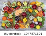 health food concept with fruit  ...   Shutterstock . vector #1047571801