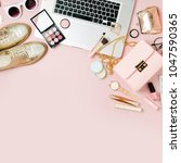 fashion blogger workspace with... | Shutterstock . vector #1047590365