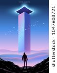 surreal vector poster.... | Shutterstock .eps vector #1047603721