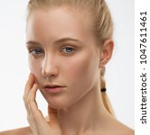 beautiful face and hands woman  ... | Shutterstock . vector #1047611461