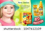 poster of set sunscreen  cream  ... | Shutterstock .eps vector #1047612109