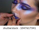makeup artist paints. young... | Shutterstock . vector #1047617341