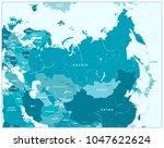 Eurasia Map In Aqua Blue Colors....