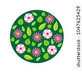 spring flowers  circle pattern. ... | Shutterstock .eps vector #1047625429