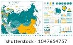 eurasia detailed map and... | Shutterstock .eps vector #1047654757