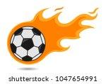 flying soccer ball in fire... | Shutterstock .eps vector #1047654991