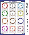 what time is it  what is the... | Shutterstock .eps vector #1047656881