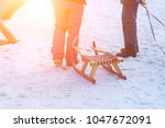 group of people with sleds or... | Shutterstock . vector #1047672091