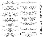 set of vintage decorative curls ... | Shutterstock . vector #1047674611