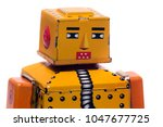 vintage tin robot toy isolated... | Shutterstock . vector #1047677725