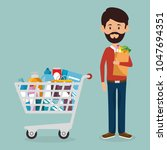 consumer with shopping cart of... | Shutterstock .eps vector #1047694351