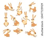 cartoon cute rabbit or hare.... | Shutterstock .eps vector #1047725929