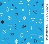 memphis theme seamless pattern. ... | Shutterstock .eps vector #1047728641