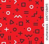 memphis theme seamless pattern. ... | Shutterstock .eps vector #1047728695