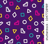 memphis theme seamless pattern. ... | Shutterstock .eps vector #1047728989