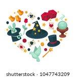 equipment for magic show in big ... | Shutterstock .eps vector #1047743209