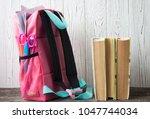 backpack with school supplies... | Shutterstock . vector #1047744034