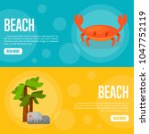 Beach Vector Illustration. Red...