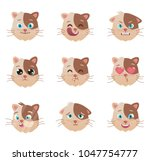 cats emotions character. cats ...   Shutterstock .eps vector #1047754777