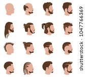 male hairstyles vector color... | Shutterstock .eps vector #1047766369