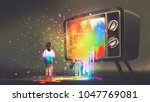 girl messed with colorful light ... | Shutterstock . vector #1047769081