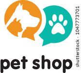 vector dog cat pet shop simple... | Shutterstock .eps vector #1047773701