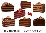 set of chocolate cakes with... | Shutterstock .eps vector #1047779509