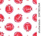pomegranate. seamless tropical... | Shutterstock . vector #1047801964