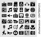 multimedia icons set. vector... | Shutterstock .eps vector #1047804151