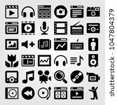 multimedia icons set. vector... | Shutterstock .eps vector #1047804379