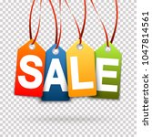four colored sale hang tags...   Shutterstock .eps vector #1047814561