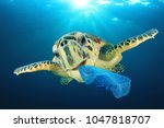 plastic pollution problem   sea ... | Shutterstock . vector #1047818707